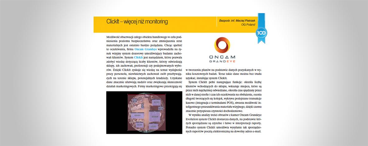ClickIt – więcej niż monitoring. Orozwiązaniu firmy Oncam Grandeye dla obiektów handlowych przeczytaj wmagazynie Zabezpieczenia.